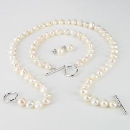 White 8-9mm Baroque Pearl Necklace Set With Sterling Silver Fittings