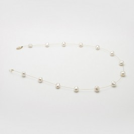 Cream Illusion Baroque Pearl Necklace With 14K Yellow Gold Clasp