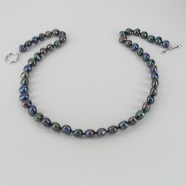 Black Baroque Pearl Necklace With Sterling Silver