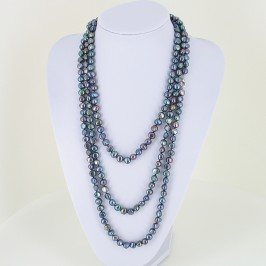Two Metre Shanghai Style Long Black 8-9mm Baroque Pearl Necklace