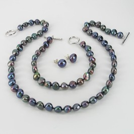 Black 8-9MM Baroque Pearl Triple Set  With Sterling Silver Fittings