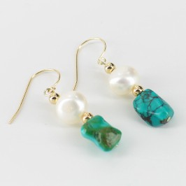 White Baroque Pearl & Turquoise Hook Earrings 8-9mm On 14K Yellow Gold