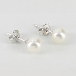 Freshwater Pearl Stud Earrings 6-6.5mm On Sterling Silver