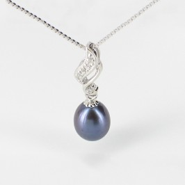 Large 8.5-9mm Black Drop Pearl Pendant Necklace On Sterling Silver