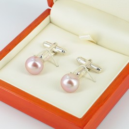 Lilac Button Pearl Cufflinks On Sterling Silver