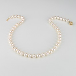 'Masterwork' Round Pearl Necklace AAA 8.5-9.5mm With 18K Yellow Gold