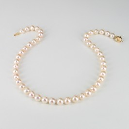 Large White Pearl Necklace 8.5-9.5mm With 18K Yellow Gold