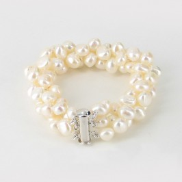Triple Strand Chunky Baroque Pearl Bracelet With Sterling Silver