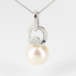 Large White Pearl & Diamond Pendant Necklace 8.5-9mm On 9K White Gold