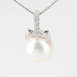 White Pearl & Diamond Pendant Necklace 8-8.5mm On 9K White Gold