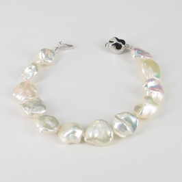 White Keshi Pearl Bracelet With Sterling Silver