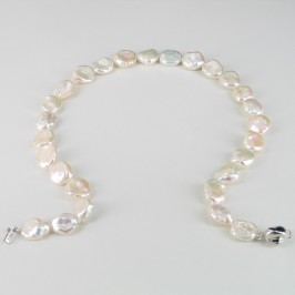 White Keshi Pearl Necklace With Sterling Silver