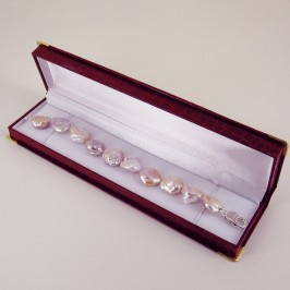 Pinkish Keshi Pearl Bracelet 16-18mm With Sterling Silver
