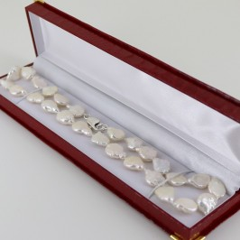 White Keshi Pearl Necklace 12-15+mm With Sterling Silver