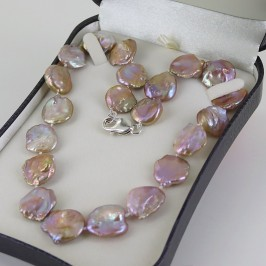 Pinky Lilac Keshi Pearl Necklace 16-18+mm With Sterling Silver
