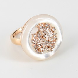Mother Of Pearl & Diamond Ring On 18K Rose Gold
