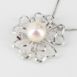 White Pearl & Cubic Zirconia Pendant Necklace Pearl On Sterling Silver