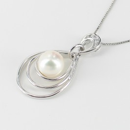 White Pearl & Cubic Zirconia Pendant Necklace On Sterling Silver