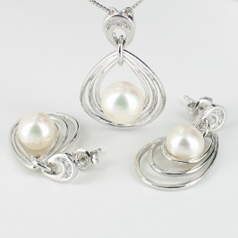 White Pearl Pendant & Earrings Set On Sterling Silver