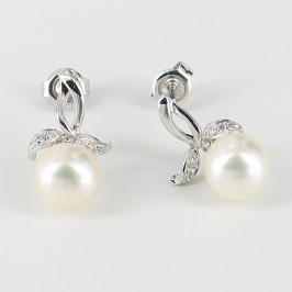 White Pearl & Cubic Zirconia Earrings 7.5-8mm On Sterling Silver