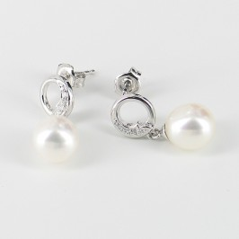 White Pearl & Cubic Zirconia Drop Earrings 8-8.5mm On Sterling Silver
