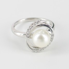 White Pearl & Diamond Ring Round Pearl On 9K White Gold