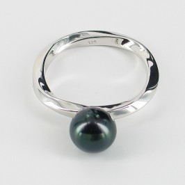 Black Round Pearl Ring Round Pearl On Sterling Silver