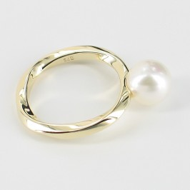 White Pearl Ring Round Pearl On 9K Yellow Gold