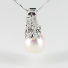 White Pearl & Diamond Pendant Necklace 9-9.5mm On 18K White Gold