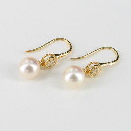 Large 8-8.5mm Pearl Drop Earrings With Cubic Zirconia On 18K Gold Vermeil