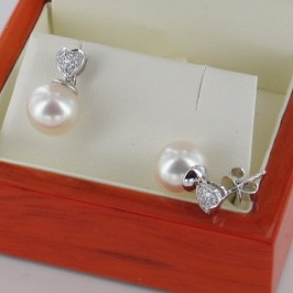 Pearl & Diamond Cluster Heart Shaped Earrings 9-9.5mm 18K White Gold