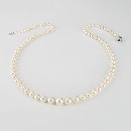 White Graduated Pearl Necklace 4.5-8.5mm With 14K White Gold