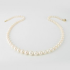 White Graduated Pearl Necklace 4.5-8.5mm With 14K Yellow Gold