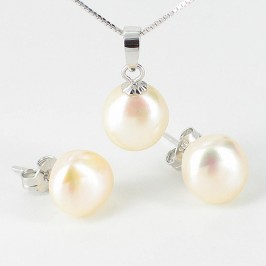 Cream 9-10mm Baroque Pearl Pendant & Earrings Set On Sterling Silver
