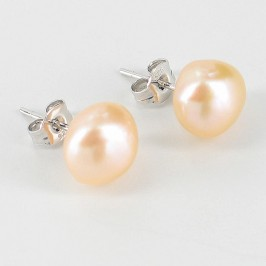 Pink Stud Baroque Pearl Earrings 9-10mm On Sterling Silver