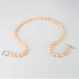 Pink Freshwater Pearl Baroque Necklace With Sterling Silver