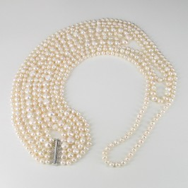 Long Five Strand Statement 6-11mm Baroque Pearl Necklace With Sterling Silver