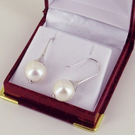 Very Large Freshwater Pearl Earrings 13-14mm On Sterling Silver Hooks
