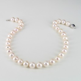 Large White Statement Pearl Necklace 10-11mm With Sterling Silver