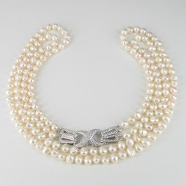 Double Strand Baroque Pearl Necklace 8-9mm With Fancy Clasp