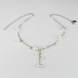 White Freshwater Pearl Necklace On Sterling Silver Chain
