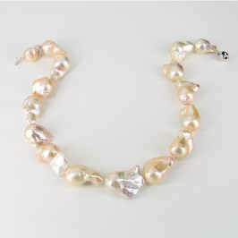 Pinkish Giant 14-20mm Baroque Pearl Necklace with Sterling Silver