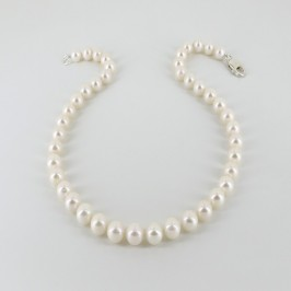 Large Pearl Necklace 9.5-10mm With Sterling Silver Lobster Clasp