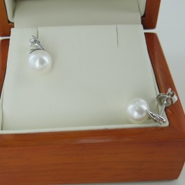 Freshwater Pearl & Diamond Earrings 7-7.5mm on 9K White Gold