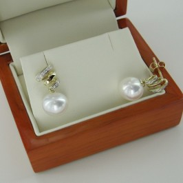 Large Pearl & Diamond Earrings 9-9.5mm on 9K Yellow Gold