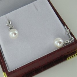 Pearl And Cubic Zirconia Earrings 7.5-8mm On Sterling Silver