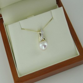 Large Pearl & Diamond Pendant Necklace 9-9.5mm 9K White & Yellow Gold