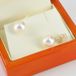 Large Pearl Stud Earrings AAA 9-9.5mm On 14K Yellow Gold