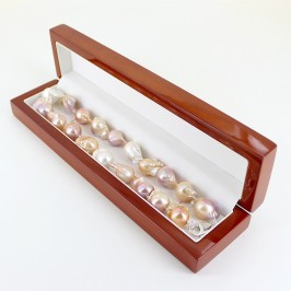 Giant Multicolour Baroque Pearl Necklace 13-15mm With Sterling Silver