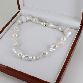 Giant White Baroque Pearl Necklace 13-14mm With Sterling Silver